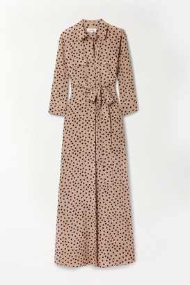 L'Agence Cameron Belted Polka-dot Silk Crepe De Chine Maxi Shirt Dress - Beige