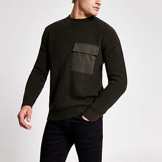 River Island Green pocket front fisherman knitted jumper