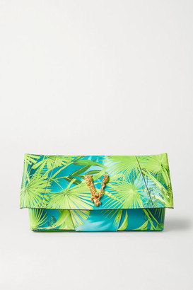 Versace Jungle Large Embellished Printed Leather Clutch - Green
