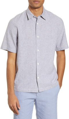 Club Monaco Stripe Short Sleeve Chambray Button-Up Shirt