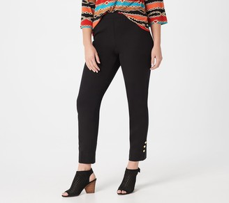 Bob Mackie Petite Ankle Pants with Button Detail