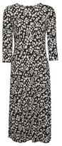 Dorothy Perkins Womens Black Daisy Print Empire 3/4 Sleeve Midi Dress, Black
