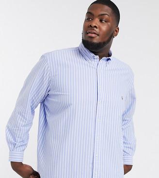 Polo Ralph Lauren Big & Tall stripe oxford shirt custom regular fit player logo in blue