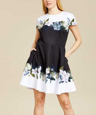 Ted Baker Women's Casual Dresses BLACK - Black Opal Floral Louva Fit & Flare Dress - Women