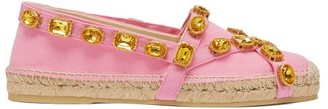 Gucci Crystal-embellished Canvas Espadrilles - Pink