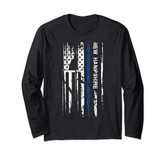 New Hampshire Cop Thin Line LEO Police American Flag Long Sleeve T-Shirt