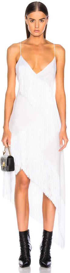 Givenchy Tiered Fringe Slip Dress in Off White | FWRD