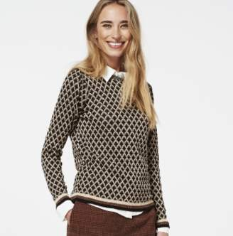 BEIGE Aaiko - Doura rombo lurex detail black rust and sweater - xs | brown | viscose - Brown/Brown