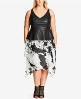 City Chic Plus Size Printed Faux-Leather Fit & Flare Dress