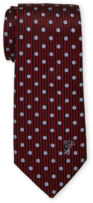 Versace Red Silk Polka Dot Contrast Pattern Tie