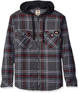 Dickies Men's Relaxed Fit Quilted Flannel Overshirt with Fleece Hood