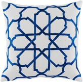 The Well Appointed House Persian Tile Blue and White Embroidered Pillow