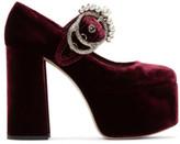 Miu Miu Burgundy Velvet Platform Mary Jane Heels