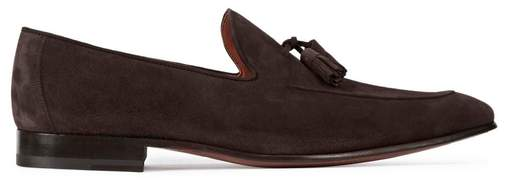 Magnanni Dark Brown Tasselled Suede Loafers
