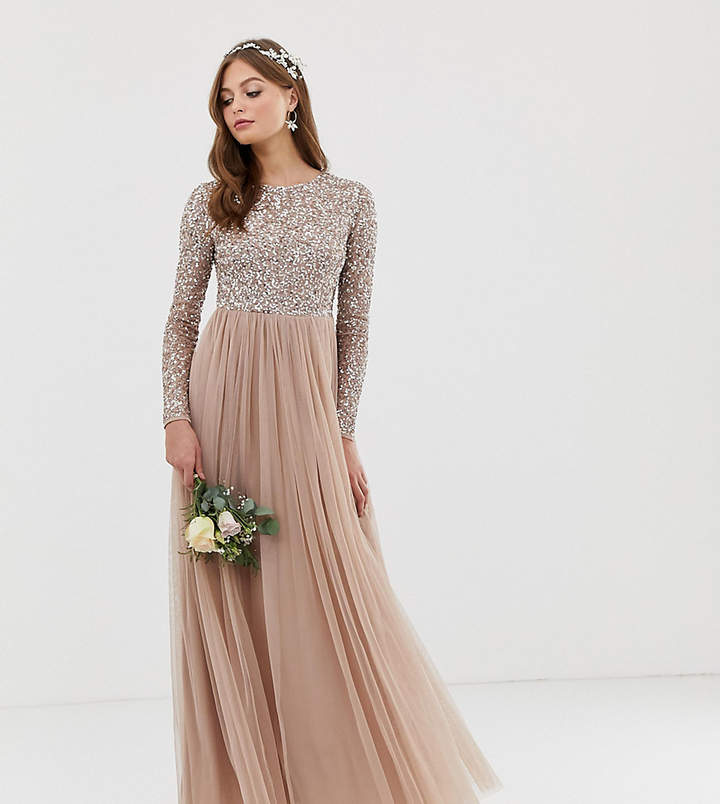 Maya Bridesmaid long sleeved maxi dress with delicate sequin and tulle skirt