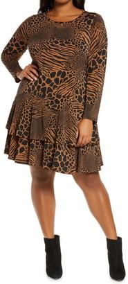 MICHAEL Michael Kors Animal Patchwork Long Sleeve Flounce Dress