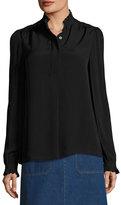 A.P.C. Evren Crepe Ruffle-Collar Blouse, Black