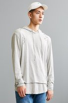 Urban Outfitters Destructed Double Layer Hooded Long Sleeve Tee