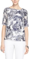 St. John Metallic Etched Floral Top