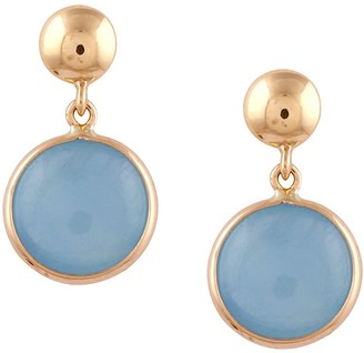 Tresor Collection Aquamarine Round Earrings In 18K Yellow Gold