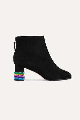 Sophia Webster Stella Metallic Leather-trimmed Suede Ankle Boots - Black