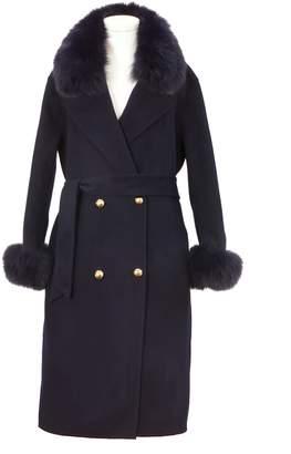 Popski London Navy Cashmere Fox Trim Coat