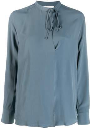 Glanshirt neck-tied blouse