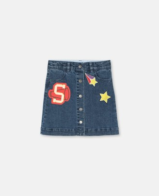 Stella Mccartney Kids Stella McCartney varsity badges denim skirt