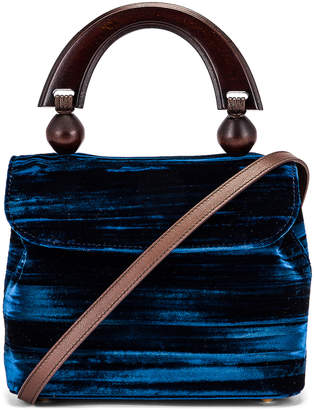 BY FAR Mini Fiona Crushed Velvet Top Handle Bag in Dark Blue   FWRD