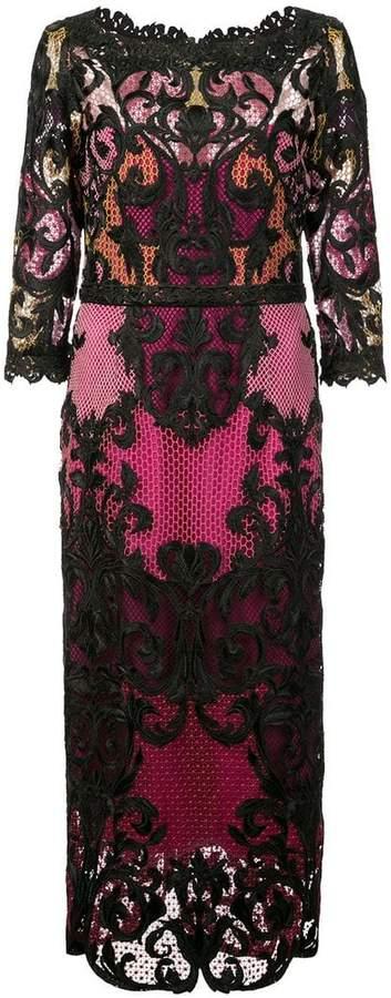 Marchesa 3/4 sleeve colour block dress