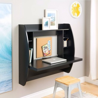 Overstock Modern Space Saving Wall Mounted Floating Laptop Desk in Black