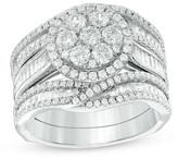 Zales 2 CT. T.W. Composite Diamond Frame Bridal Set in 14K White Gold