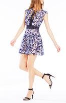 BCBGMAXAZRIA Chrystal Zip-Front Burnout Mesh Dress