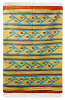 Modern Floral Handwoven Blue and Yellow Dhurrie Rug (4 x 6), 'Blue Clematis'