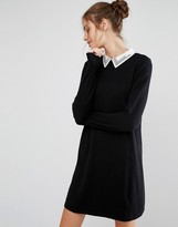 Oasis Embroidered Collar Swing Dress