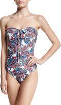 Shoshanna Paisley-Print Bandeau One-Piece Swimsuit