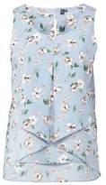 Dorothy Perkins Womens Izabel London Light Blue Floral Print Split Front Vest, Light Blue