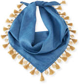 Lydell NYC Tasseled Denim Bandana Necklace