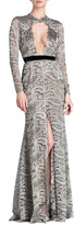 Naeem Khan Paisley-Lace Gown with Front Keyhole
