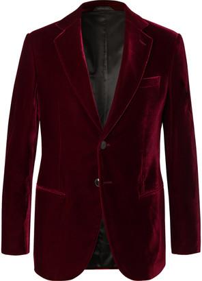 Giorgio Armani Claret Slim-Fit Velvet Tuxedo Jacket