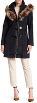 Betsey Johnson Toggle Wool-Blend Coat with Faux Fur Hood