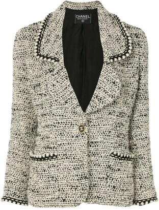 Chanel Pre Owned CC button tweed jacket