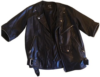 McQ Black Leather Coat for Women