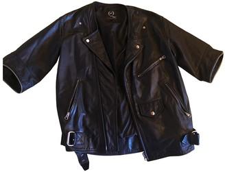 McQ Black Leather Coat for Women