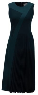 HUGO BOSS Patchwork midi dress in crepe with plisse skirt detail