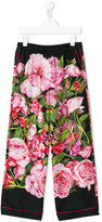 Dolce & Gabbana rose print trousers - kids - Silk - 10 yrs