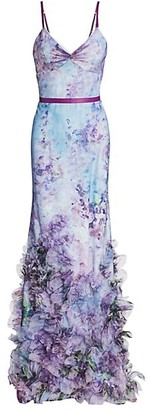 Marchesa Notte Floral Tulle Mermaid Gown