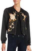 Design Lab Lord & Taylor Floral-Embroidered Bomber Jacket