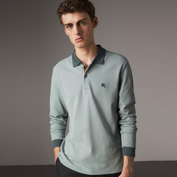 Burberry Long-sleeve Cotton Piqué Polo Shirt