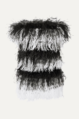 Saint Laurent Strapless Feather-embellished Velvet And Sequined Mesh Mini Dress - Black